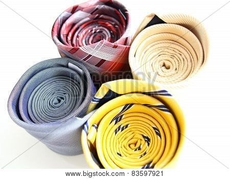 Four Different Rolled Color Luxury Ties