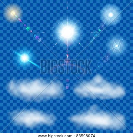 Set Of Transparent Suns And Clouds