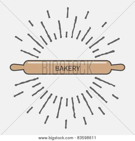 Wooden Rolling Pin Plunger Bakery Tool Shinging Effect Flat Design