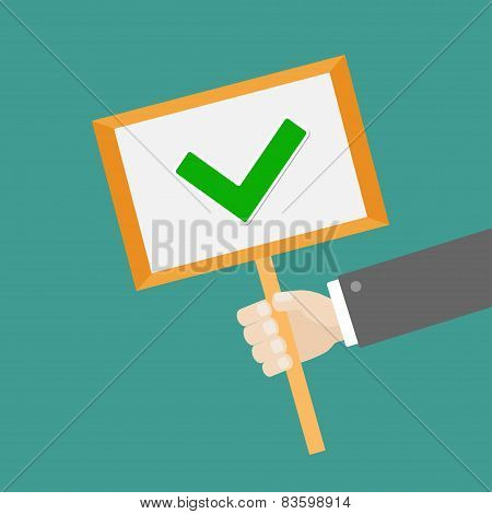 Businessman Hand Holding Paper Blank Sign Plate With Green Tick Check Mark Flat Design