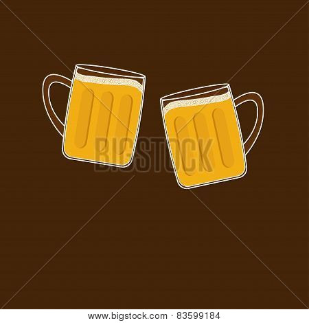 Two Clink Beer Glasses Mug With Foam Cap Froth Bubble. Flat Design