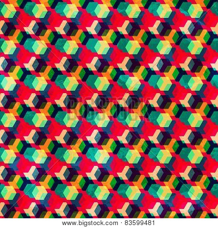 Retro Colored Rhombus Seamless Pattern