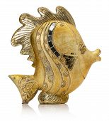 pic of metal sculpture  - golden fish sculpture isolated on the white background - JPG