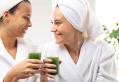stock photo of beauty parlor  - Relax in the spa two women in the beauty parlor - JPG