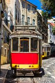 stock photo of tram  - LISBON PORTUGAL  - JPG