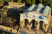stock photo of gethsemane  - Miniature of Gethsemane and Church of All Nations at Mini Israel in Jerusalem at Mini Israel a miniature park located near Latrun Israel in the Ayalon Valley - JPG