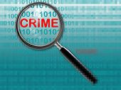picture of white collar crime  - Close up of magnifying glass on crime - JPG