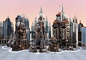 picture of fiction  - 3D digital render of a science fiction futuristic city on grey sky background - JPG