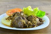 picture of liver fry  - Pan fried chicken liver with onions and mashed potatoes - JPG