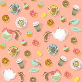 picture of donut  - Colorful flat seamless vector pattern with cups of coffee and tea - JPG