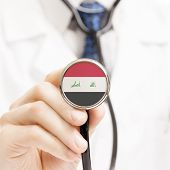 picture of iraq  - National flag on stethoscope conceptual series  - JPG