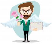 picture of postman  - Postman with wings brought flowers and a letter - JPG