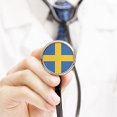 picture of sweden flag  - National flag on stethoscope conceptual series  - JPG