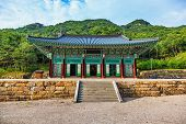 stock photo of korean  - Traditional korean architecture old building or monks temple in South Korea at autumn - JPG