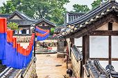 stock photo of korean  - Traditional korean village with old architecture and houses at autumn in South Korea - JPG