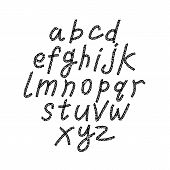 stock photo of verbs  - Hand drawn and sketched classic font vector sketch style alphabet - JPG