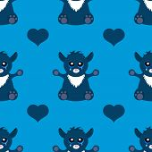 image of monsters  - Vector illustration of seamless pattern of alien cat monster - JPG