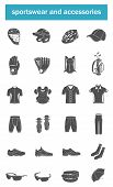 Постер, плакат: Vector set of icons sports accessories clothes shoes