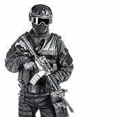 image of officer  - Spec ops police officer SWAT in black uniform and face mask  - JPG