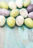 picture of nostalgic  - Colored easter eggs on wooden background - JPG
