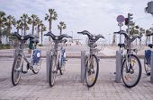 image of zero  - Bicycle rental station in a city zero emission transport - JPG