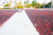 stock photo of track field  - Running track (Running track rubber with line )