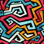 pic of graffiti  - bright graffiti seamless pattern with grunge effect - JPG