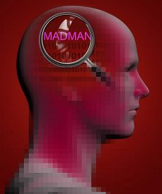 image of madman  - profile of a man with close up of magnifying glass on MADMAN made in 3d software - JPG