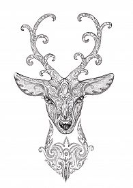 pic of deer  - Stylized image of a beautiful forest deer head with horns with patterns - JPG