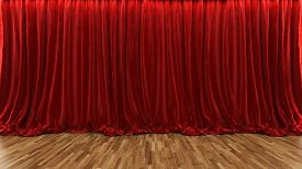 image of cinema auditorium  - 3d rendering red theater and cinema curtain with parquet floor by Sedat SEVEN - JPG