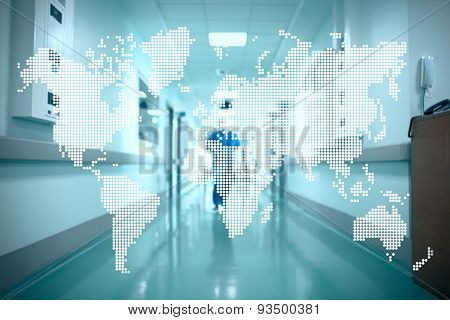 World Map On The Background Of The Hospital Corridor. Concept Of International Cooperation