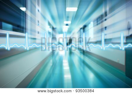 Ecg Line On The Background Of The Corridor Of The Hospital Medical Concept