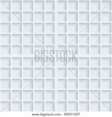 Light gray graph paper. 3d vector EPS10 seamless background.