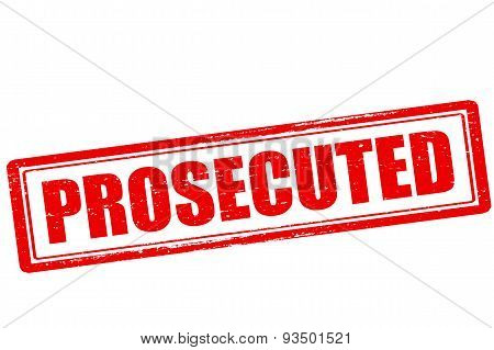 Rubber stamp with word prosecuted inside vector illustration
