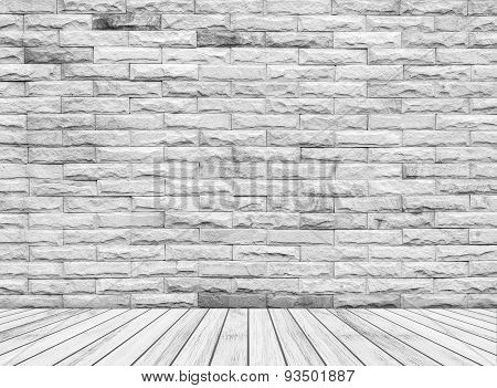 Backdrop sandstone wall and wood slabs arranged in perspective texture background.