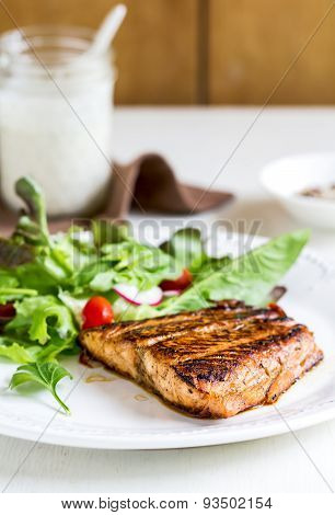 Glazed Salmon With Salad