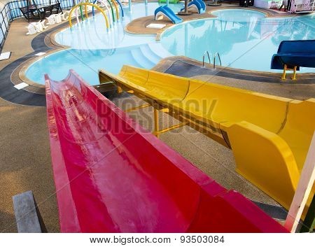 Slider In Public Water Park