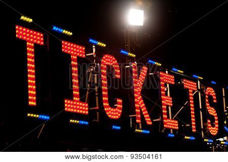 Tickets Neon Sign In The Night