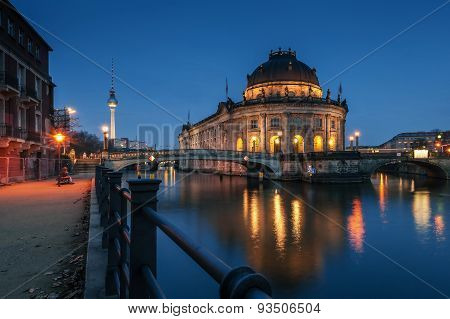 Night Time Illuminations Of The Museum Island In Berlin, Germany.