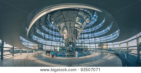 Panoramic View Of Reichstag Dome In Berlin, Germany.