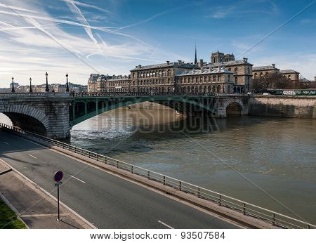 Seine River With Pont Notre Dame In Paris
