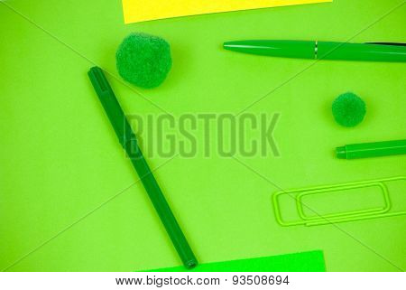 Bunch of office desktop objects and signal paper cards