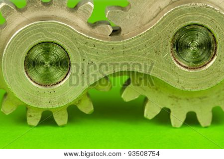 Macro image of double cogwheel machinery industrial metal shine element