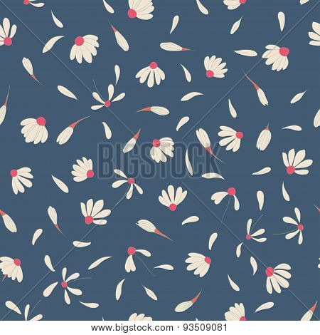 Seamless pattern with cute chamomile flowers. Vector background for your design