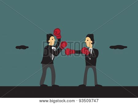 Boxing Businessmen Vector Cartoon Illustration