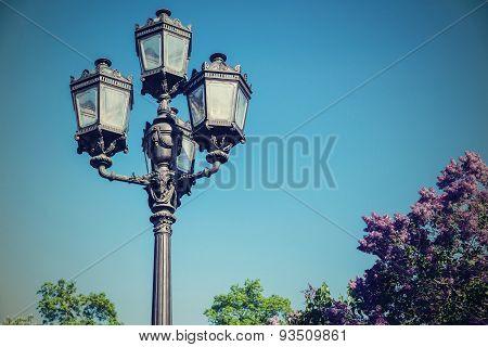 Iron Retro Streetlight Against The Sky