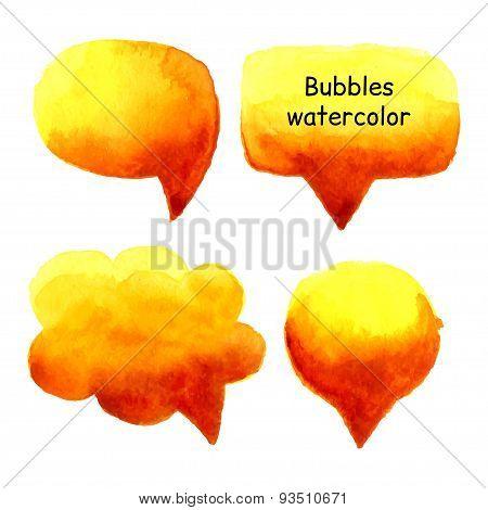 Speak Bubbles Watercolor Set Vector