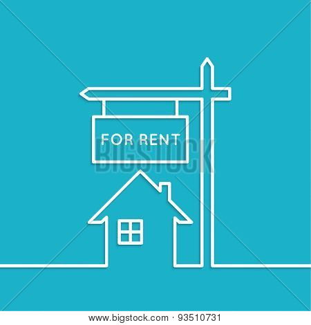 House with a sign for rent.