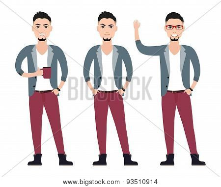 young man character  in a suit flat set in different poses vector