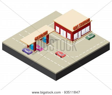 Isometric gas station with cars gasoline pump nozzles and markings on the road.